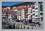 Spain, Basque Country, Vizcaya, Lekeitio Harbor by Walter Bibikow / Danita Delimont Framed Art Print Wall Picture, Flat Silver Frame, 46 x 32 inches