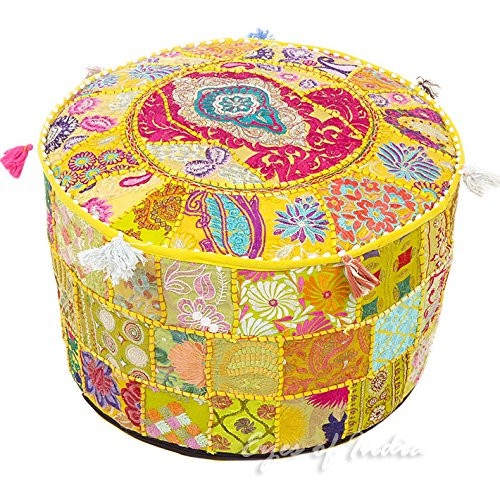 - NANDNANDINI - Beautiful HANDMADE Yellow Christmas Decorative Bohemian Ottoman Patchwork Ottoman Indian Embroidered Indian Vintage Cotton Round Pouf Foot Stool , Vintage Ottoman Bohemian Decor
