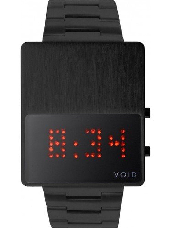 Void V01LED-BL - MB Unisex Stailess Schwarzes Armband-Band Schwarzes Vorwahlknopf Digitaluhr