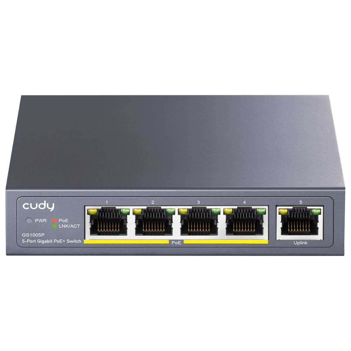 Cudy GS1005P 5 Port Gigabit Ethernet Unmanaged PoE+ Switch, with 4 x PoE+ @ 60W, Desktop/Wall, Sturdy Metal Fanless Housing, 802.3af, 802.3at, Shielded Ports, Traffic Optimization, Plug and Play