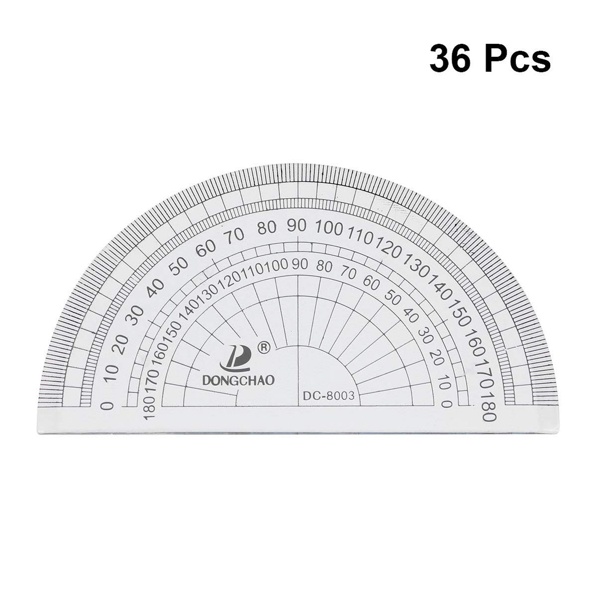 Toyvian Protractor 180 Degrees Plastic Geometrical Protractors Math Tool for Student School Angle Measurement by Toyvian