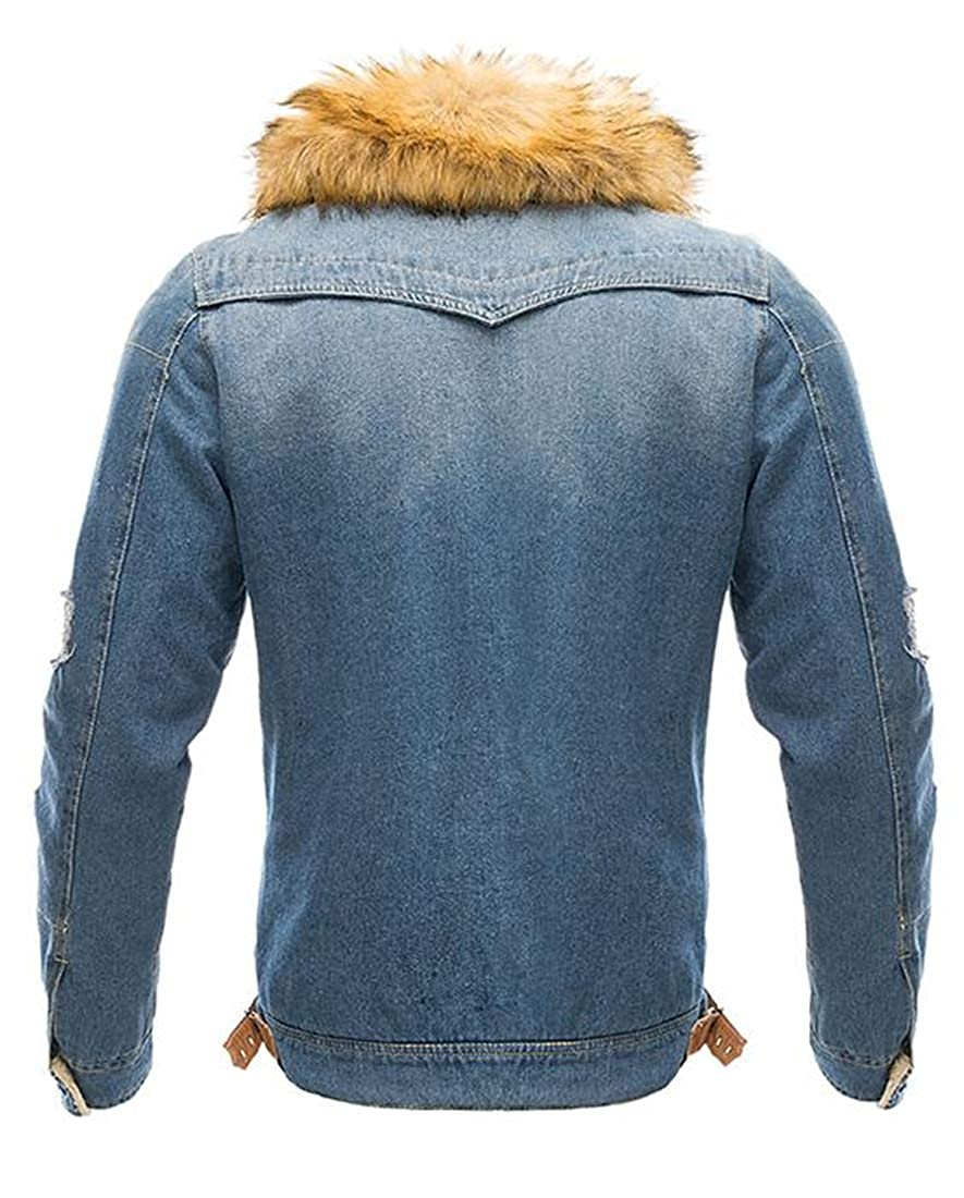 Sweatwater Men Washed Warm Fleece Lined Winter Faux Fur Denim Jacket Parka Coat