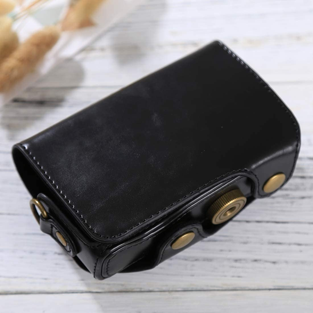 Color : Coffee Black YANTAIANJANE Camera Accessories Full Body Camera PU Leather Case Bag with Strap for Canon PowerShot SX730 HS SX720 HS