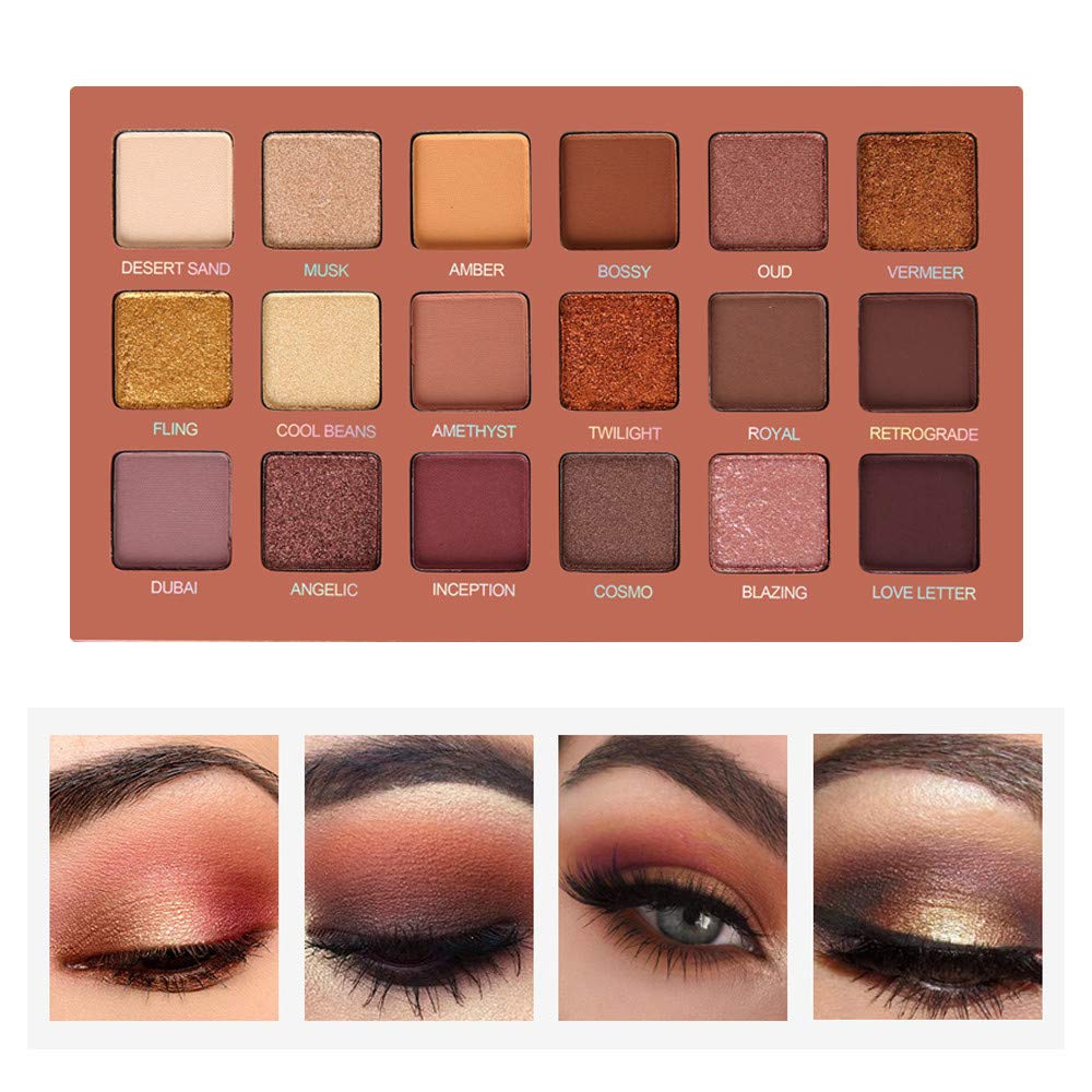 SEPROFE Eyeshadow Palette Professional Smokey Eye Shadows Nudes Highly Pigmented 18 Warm Chocolate Colors Matte Shimmer Neutral Eyeshadow Makeup Kits