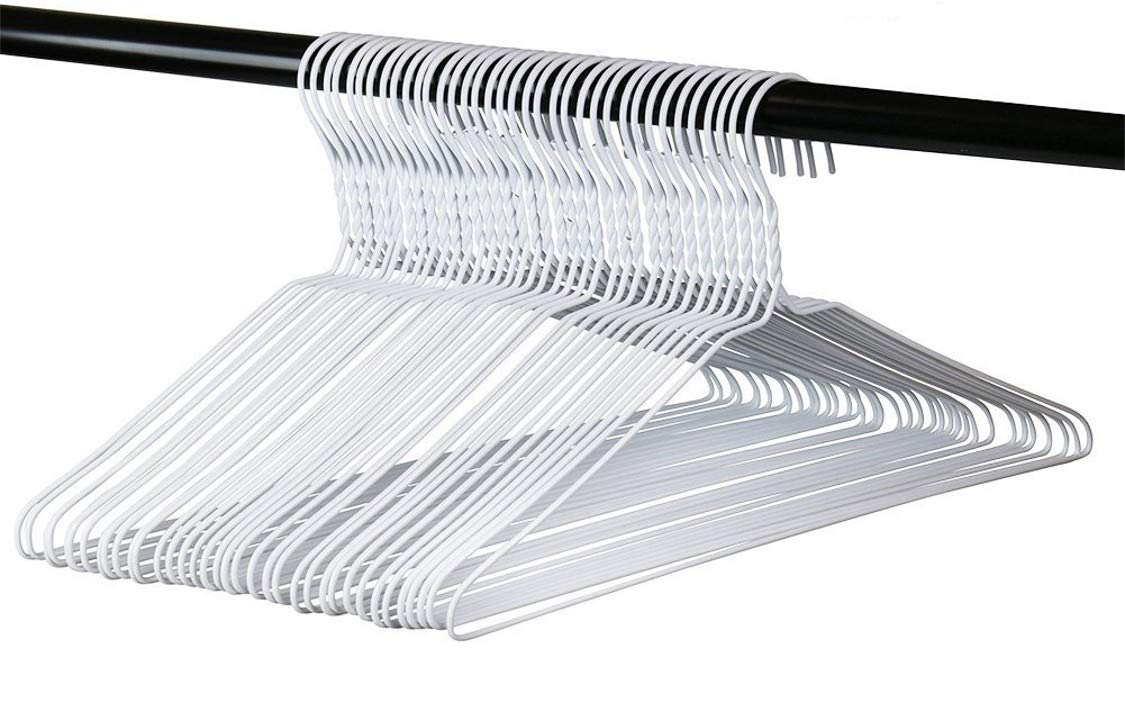 Vinyl Coated Wire Metal Hangers, White, Standard Adult Size, Pack of 36. Made in The USA by Hangorize
