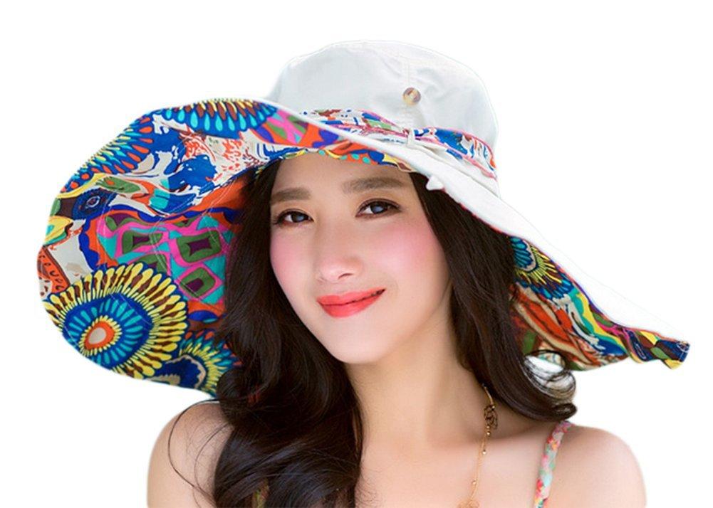 Dosige Chapeau De Soleil Double-Face Pliable pour Femme Fille Voyage Plage Casquette De Soleil Chapeau De Soleil Plage Anti-UV Loisirs Chapeau De Soleil Voyage