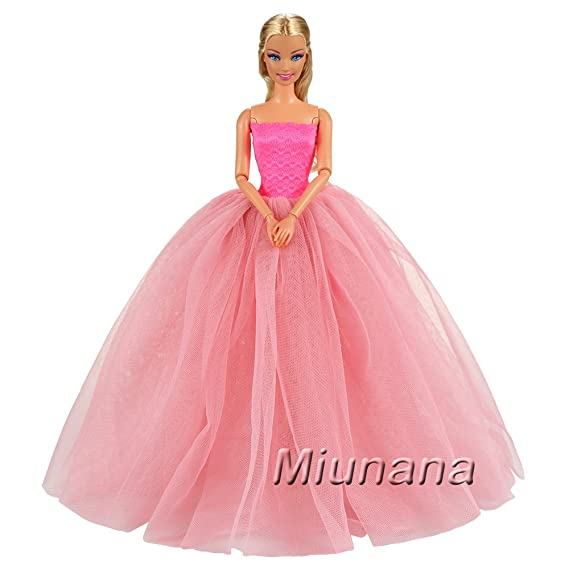 Amazon.es: Miunana 1x Vestido de Novia Ropa Boda con 1 Velo Accesorios como Regalo para Muñeca Barbie 30 CM Doll (Rosado): Juguetes y juegos