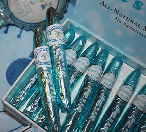 Personalized Blue It's a Boy Chocolate Cigars Box of 24 with Personalized Bands ()