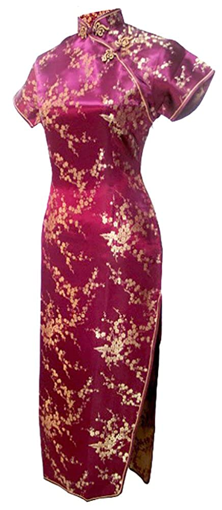 7Fairy Women's Vtg Burgundy Floral Long Chinese Prom Dress Cheongsam 1100208