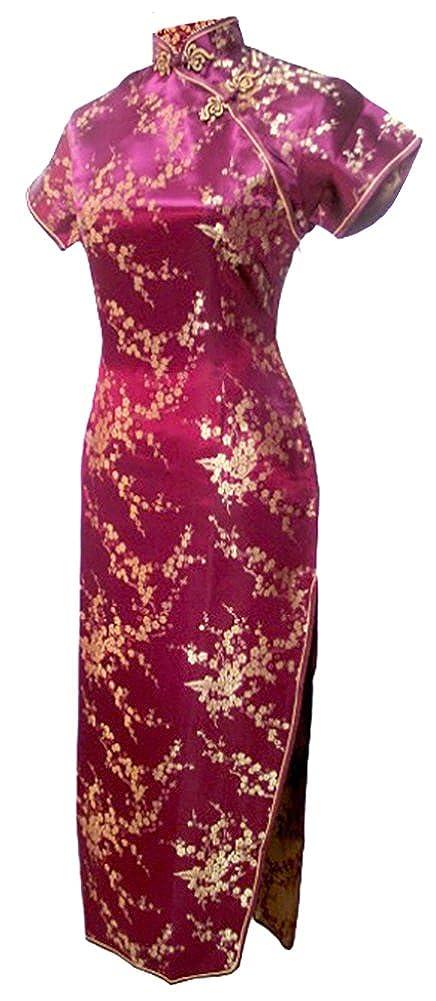 7Fairy Women's Vtg Burgundy Floral Long Chinese Prom Dress Cheongsam 1100208