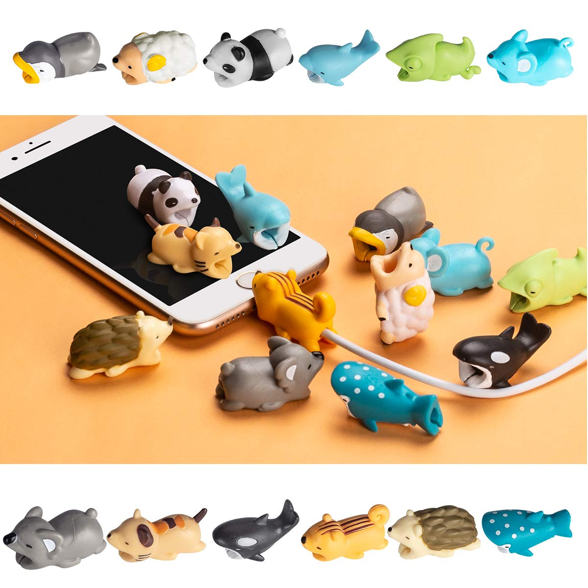 Aitsite 12 Pieces Charger Cable Protector Buddies, Cord Protector Saver with Carry Case and Animals Cable Bites for iPhone and Android Cell Phone Charging Cable by Aitsite (Image #5)