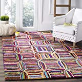 Safavieh Nantucket Collection NAN441A Handmade Abstract Geometric Multicolored Cotton Area Rug (8' x 10')