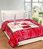 Acmura Double Bed Double Ply - IPL Floriana Mink Blanket - 3.5 Kg (Dark Pink)