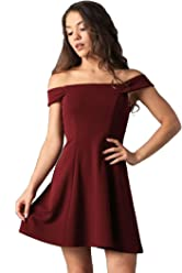 5aef6286b27a Teeze Me Women's Off The Shoulder Cocktail Fit and Flare Skater Dress