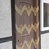 Natural Bamboo & Wood Beaded Curtain, 38 stands W Pattern
