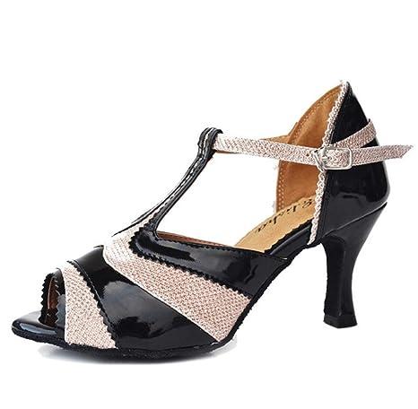 Sandali Donna Salsa Latin Samba Tango Ballroom Pelle Scamosciata Soft Soles  Fibbia T-Strap Dance 57867e7a399