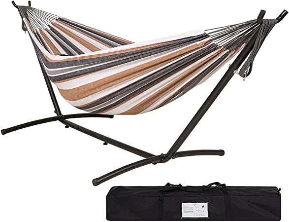 Double Hammock with Space-saving Steel Stand Includes Portable Carrying Case