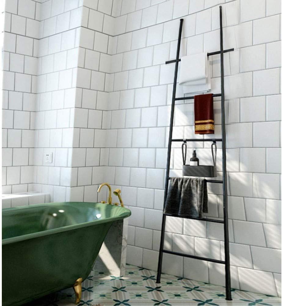 Y-only Escalera Decorativa Multiusos, Toallero en Forma de Escalera con 6 Peldaños, toallero de pie, Perchero de pie, para baño Black: Amazon.es: Hogar
