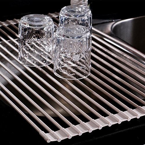 Roll-Up Dish Drying Rack over Sink, Silicone Coated, Large,