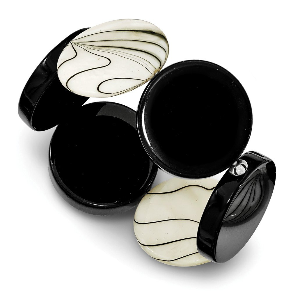 Top 10 Jewelry Gift Sterling Silver Black Agate & Zebra Mother of Pearl Stretch Bracelet