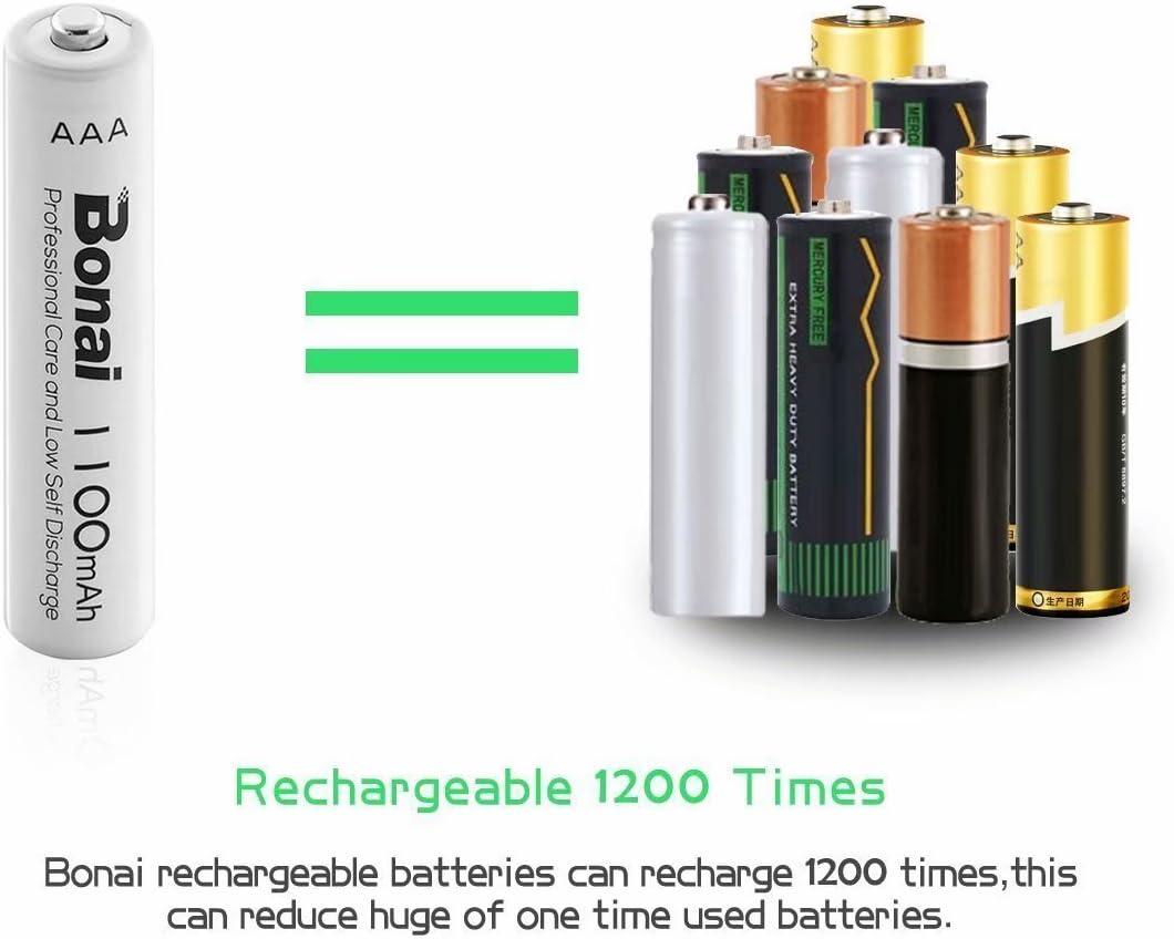 UL Certificate BONAI 1100mAh AAA Rechargeable Batteries 1.2V Ni-MH High-Capacity Batteries 8 Pack