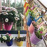 KINBEDY Hanging Flower Pots, Garden Pots Balcony Planters Metal Bucket Flower Holders - Detachable Hook, Multicolor, 10 PCS.