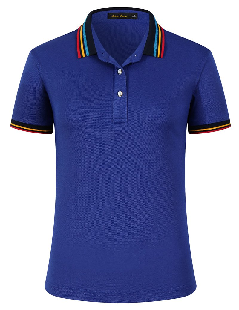 Women Classic Rainbow Collar Slim Fit Short Golf Polo Shirt Royal Blue S by Mitario Femiego