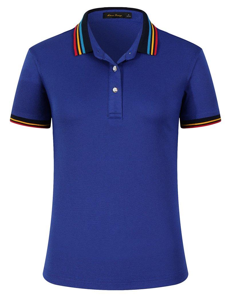 Women Classic Rainbow Collar Slim Fit Short Golf Polo Shirt Royal Blue S