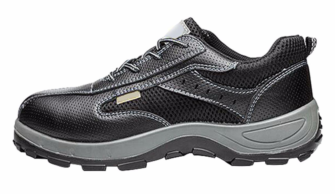 Jiu du Women's and Men's Safety Steel Toe Work Athletic Shoes Trainer Style Outdoor Proof Footwear Black Cow Leather Size US7.5 EU38