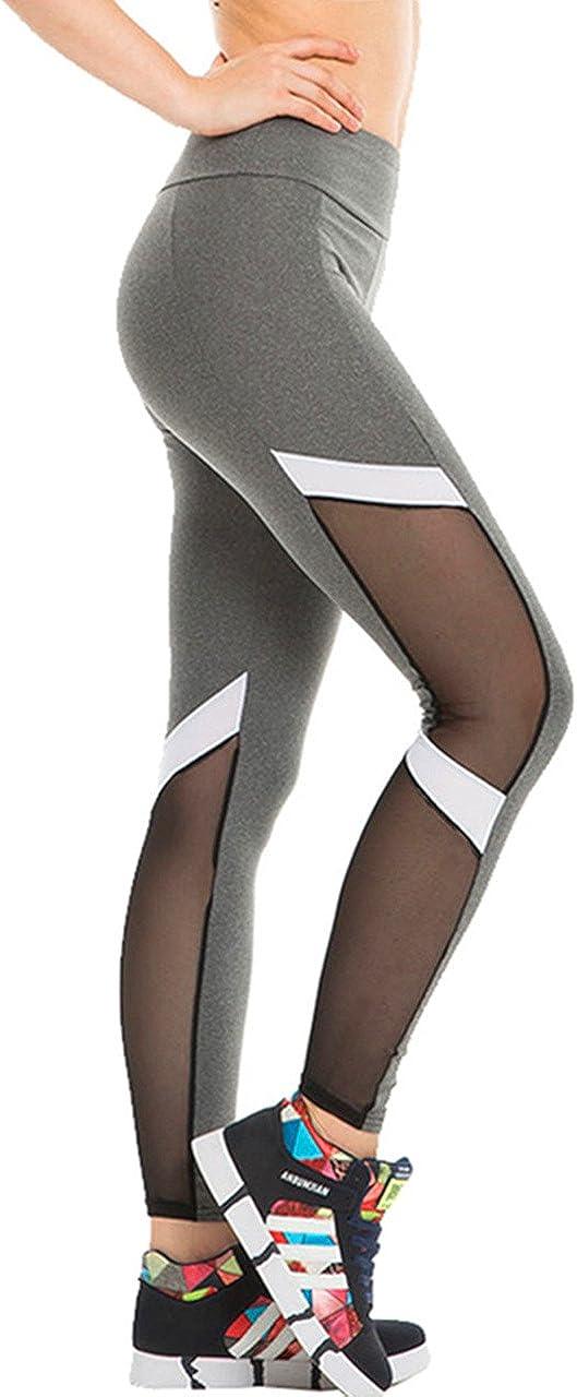 CHIC DIARY Collant de Sport Fitness Yoga Danse Slim Legging Pantalon Stretch Longue Amincissant Gaze Transparent pour Femme Fille