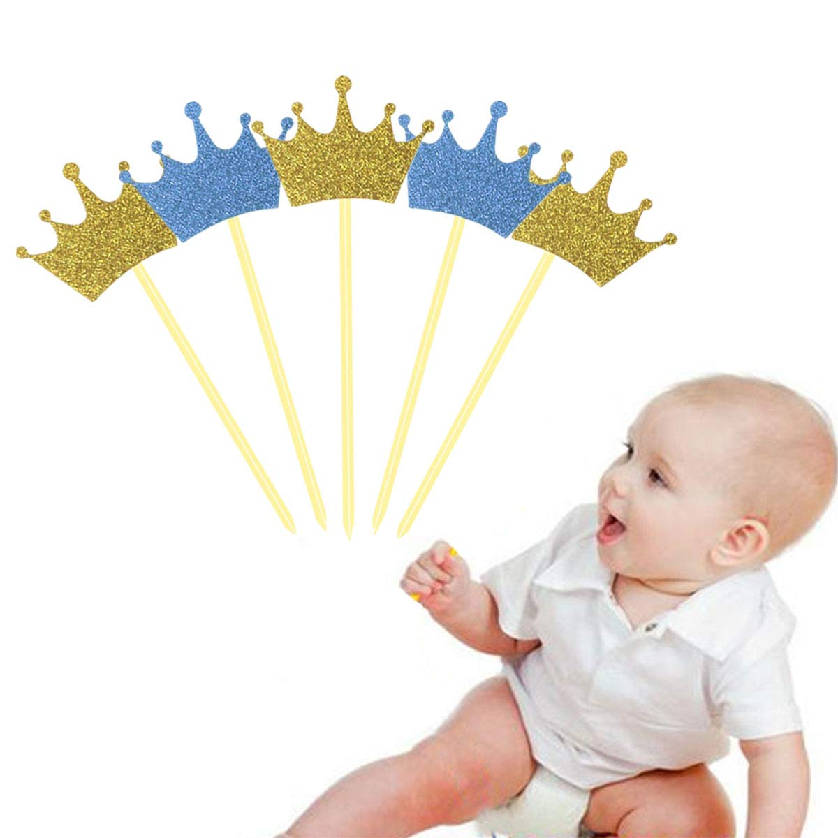 Toyvian 40pcs Cupcake Toppers Cute Crown Cake Toppers Selecciones para Baby Shower Cumpleaños Wedding Party Cake Decoration Supplies: Amazon.es: Hogar