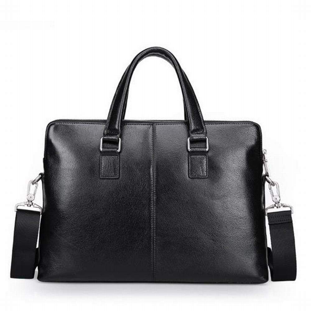 AUSWIEI Mens Business Handbag First Layer Cowhide Leather Briefcase Shoulder Bag Diagonal Package Color : AS Photo