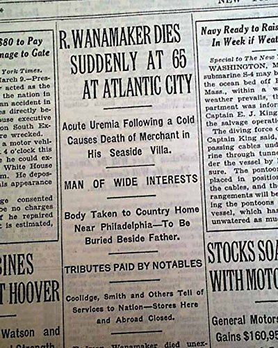 RODMAN WANAMAKER Department Store Magnate Aviation Investor DEATH 1928 Newspaper THE NEW YORK TIMES, March 10, 1928 (Best Newspaper For Investors)