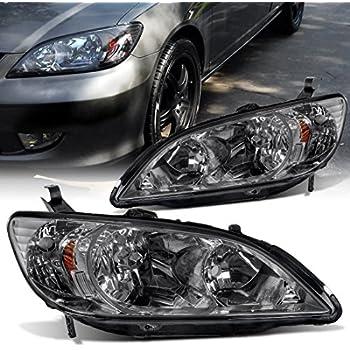Headlight for Honda Civic 2004-2005 (04 05) Black Housing Amber Reflector Smoke Lens