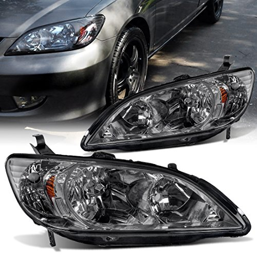 04 Headlight Assembly (Headlight Assemblies for Honda Civic 2004-2005 (04 05) Black Housing Amber Reflector Smoke Lens,Passenger & Driver Side,One Year Warranty)
