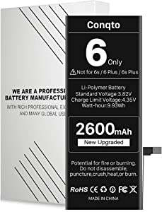 Conqto Battery for iPhone 6 (Not 6S or 6+), [2600mAh] New Upgraded 0 Cycle Ultra High Capacity Durable Replacement Battery, No Tools