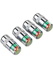 Republe Presión 4pcs del Coche Auto del neumático Rueda de Aire 3 Color del indicador de plástico válvula de Aire Stem Tapa Accesorios