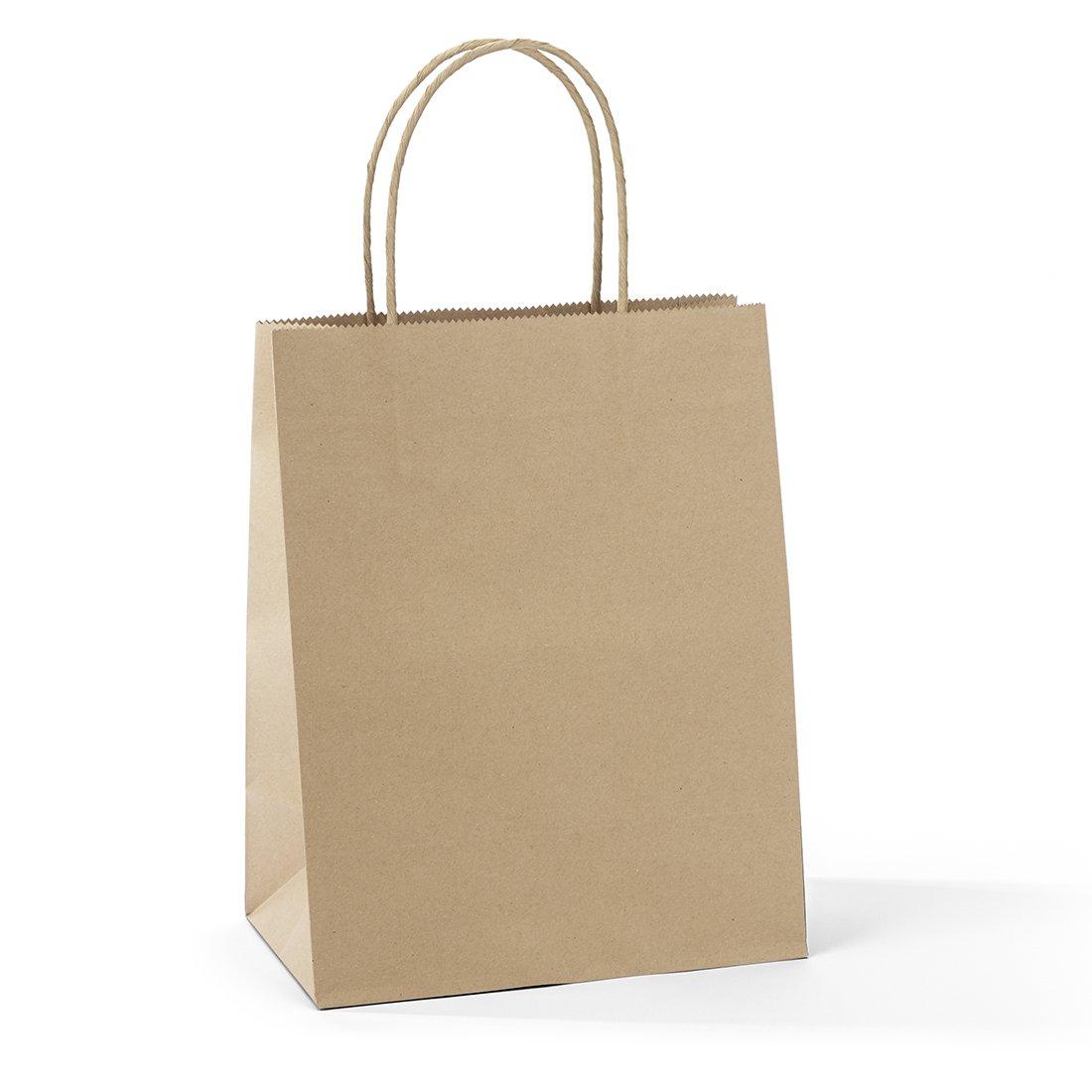 Halulu 25 Pcs 8x4.75x10.5'' Kraft Brown Paper Handle Shopping Gift Merchandise Carry Retail Bags