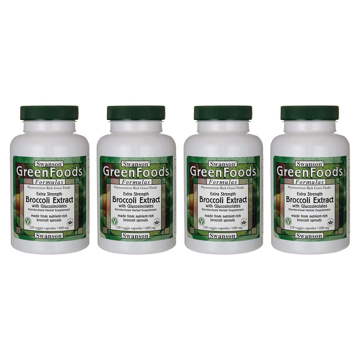 Swanson Extra-Strength Broccoli Extract with Glucosinolates 600 Milligrams 120 Veg Capsules 4 Pack