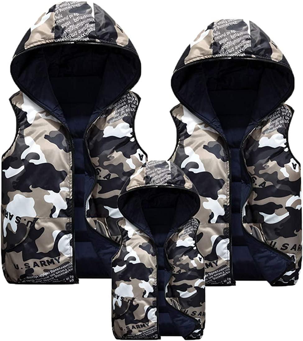 Winter Hooded Vest Padded Camouflage Reversible Sleevelss Jacket 3-9T