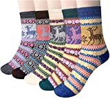Loritta 5 Pairs Womens Vintage Style Winter Soft Warm Thick Knit Wool Crew Socks,Multicolor 05,One Size