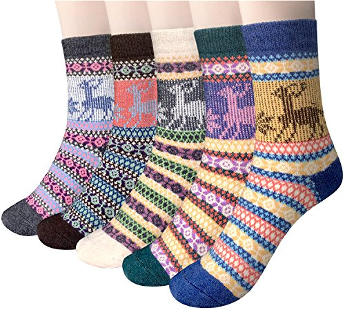 Loritta 5 Pairs Womens Vintage Style Winter Soft Warm Thick Knit Wool Crew Socks,Multicolor 05,One Size from Loritta