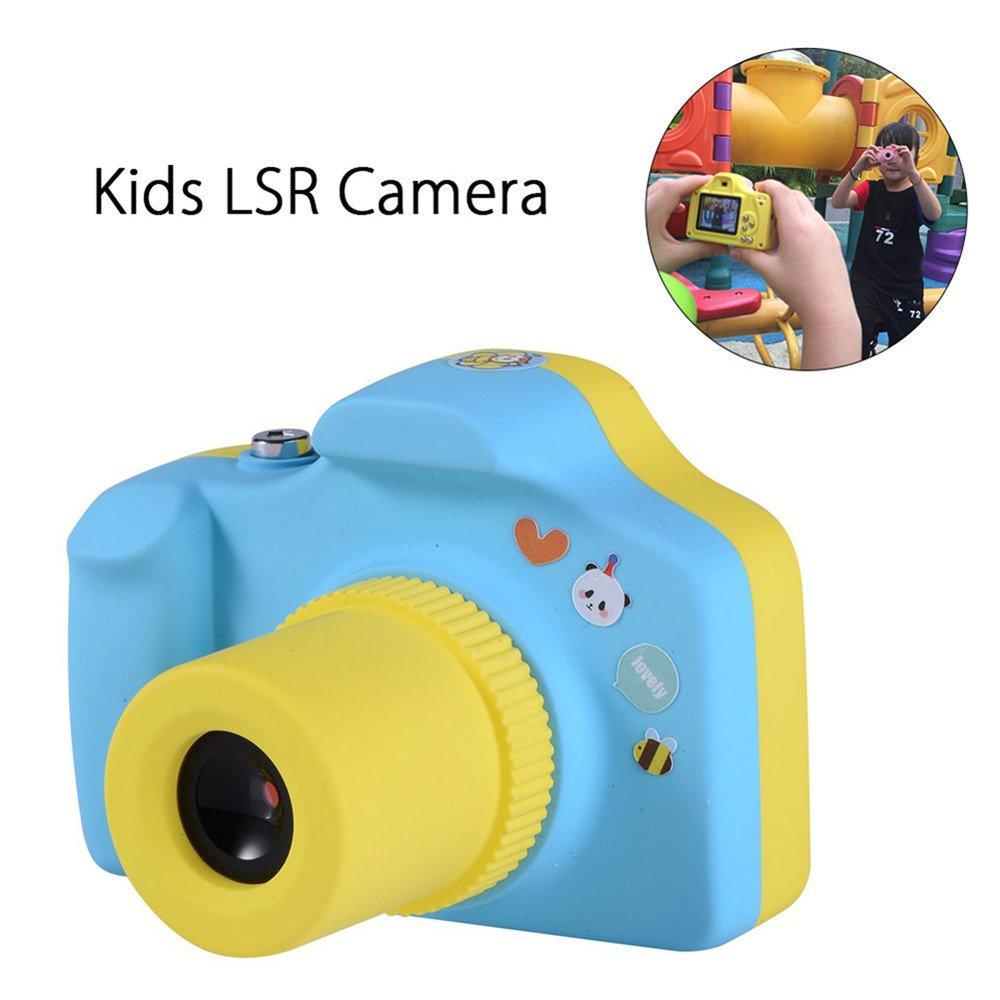 Jian Ya Na Mini Kids Digital 1.5inch Cámara Pantalla LCD de Alta resolución Ligera Sello de Tiempo Ajustable Incorporado de la Correa Soporte de Tarjeta de Azul