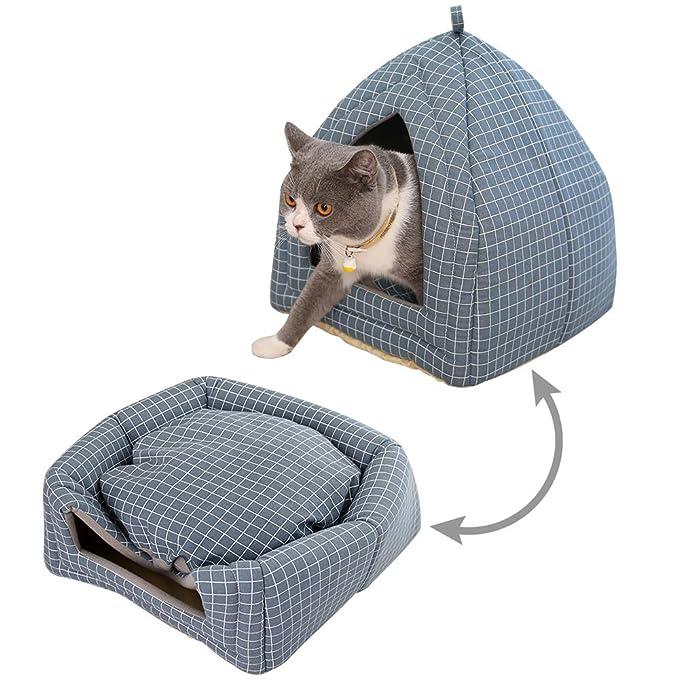 Amazon.com: laamei - Cama para gato con forma de cueva, 2 en ...