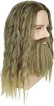 Avengers Endgame Cosplay Thor Long Curly Golden Brown Hair and Beard Thor Wig
