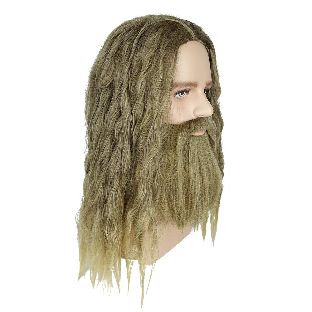 Thor Odinson Cosplay Wig Long Curly Golden Brown Hair And Beard Halloween Costume Inspired By Avengers Endgame