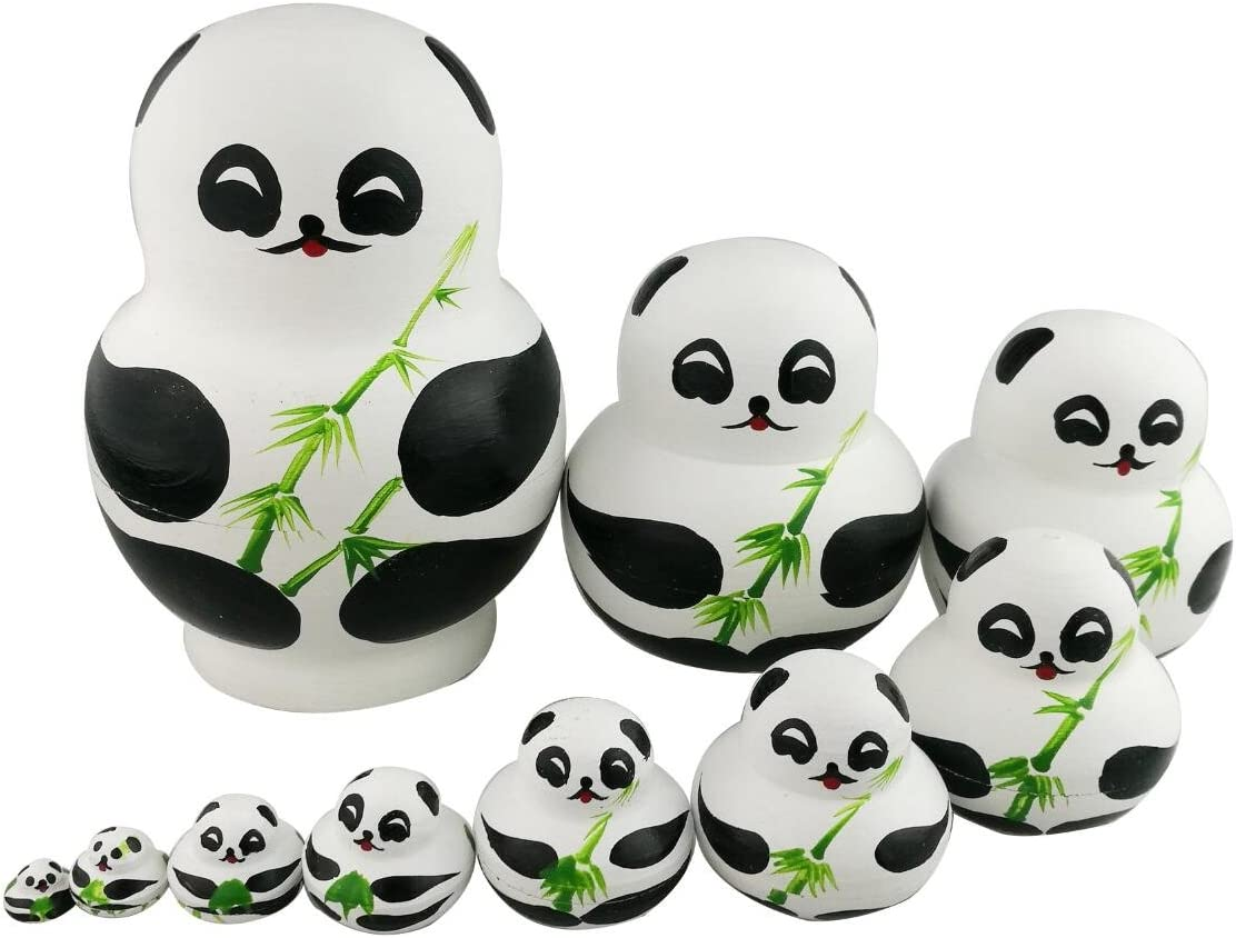 Winterworm Set of 10 Cute Giant Panda Bear with Green Bamboo Nesting Dolls Matryoshka Animal Russian Handmade Kids Girl Surprise Christmas Holiday Birthday Toy Home Office Decoration