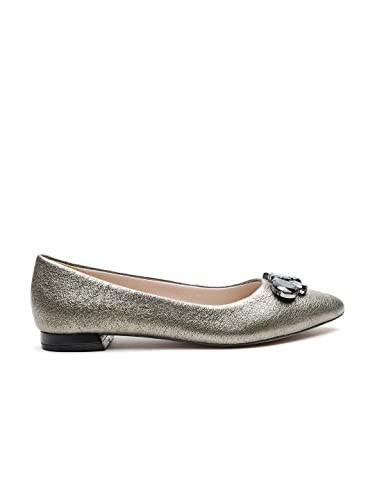 Clarks Clarks Women Gunmetal-Toned Shimmer Leather Ballerinas cheap sale footaction cheap purchase free shipping choice FHR7w