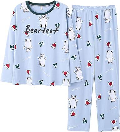 Boys girls cat Cartoon pattern home pyjamas set cotton cozy sleepwear nightwear