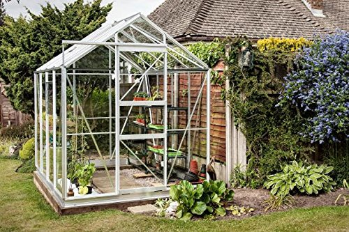 Simplicidad Shugborough invernadero 6 ft3 X 8 ft3 Plain aluminio ...